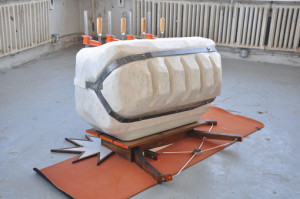 "Impatient Gods, 2013 plaster, pencil, marble, plastic laminate, wood, metal, plexiglas, fabric, yoga mat, and clamps 35"" h x 70"" x 40"""